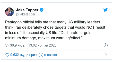 "Twitter post by @jaketapper: Pentagon official tells me that many US military leaders think Iran deliberately chose targets that would NOT result in loss of life especially US life  ""Deliberate targets, minimum damage, maximum warning/effect."""