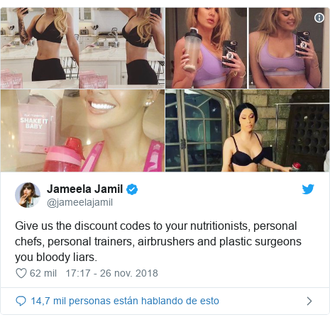 Publicación de Twitter por @jameelajamil: Give us the discount codes to your nutritionists, personal chefs, personal trainers, airbrushers and plastic surgeons you bloody liars.