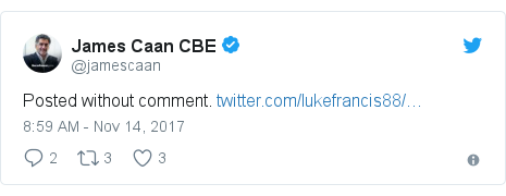 Twitter post by @jamescaan: Posted without comment.