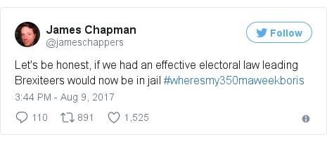 Twitter post by @jameschappers