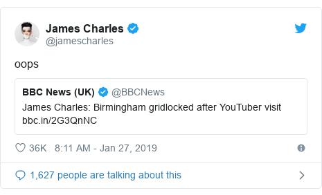 Twitter post by @jamescharles: oops