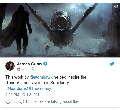 Twitter post by @JamesGunn: This work by @atomhawk helped inspire the Ronan/Thanos scene in Sanctuary. #GuardiansOfTheGalaxy