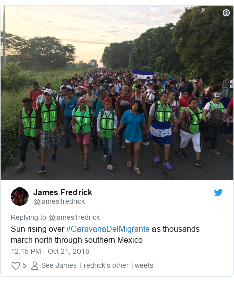 Twitter post by @jameslfredrick: Sun rising over #CaravanaDelMigrante as thousands march north through southern Mexico