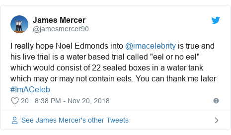 """Twitter post by @jamesmercer90: I really hope Noel Edmonds into @imacelebrity is true and his live trial is a water based trial called """"eel or no eel"""" which would consist of 22 sealed boxes in a water tank which may or may not contain eels. You can thank me later #ImACeleb"""