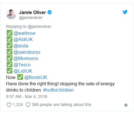 Twitter post by @jamieoliver: ✅ @waitrose ✅ @AldiUK ✅ @asda✅ @sainsburys ✅ @Morrisons✅ @Tesco ✅ @LidlUKNow ✅ @BootsUKHave done the right thing! stopping the sale of energy drinks to children. #notforchildren