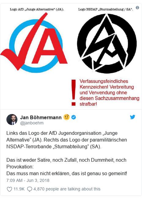 """Twitter post by @janboehm: Links das Logo der AfD Jugendorganisation """"Junge Alternative"""" (JA). Rechts das Logo der paramilitärischen NSDAP-Terrorbande """"Sturmabteilung"""" (SA). Das ist weder Satire, noch Zufall, noch Dummheit, noch Provokation Das muss man nicht erklären, das ist genau so gemeint!"""