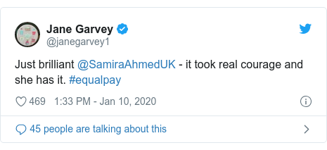 Twitter post by @janegarvey1: Just brilliant @SamiraAhmedUK - it took real courage and she has it. #equalpay