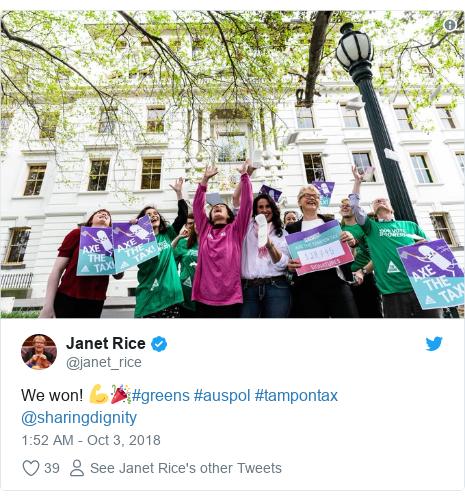 Twitter post by @janet_rice: We won! 💪🎉#greens #auspol #tampontax @sharingdignity