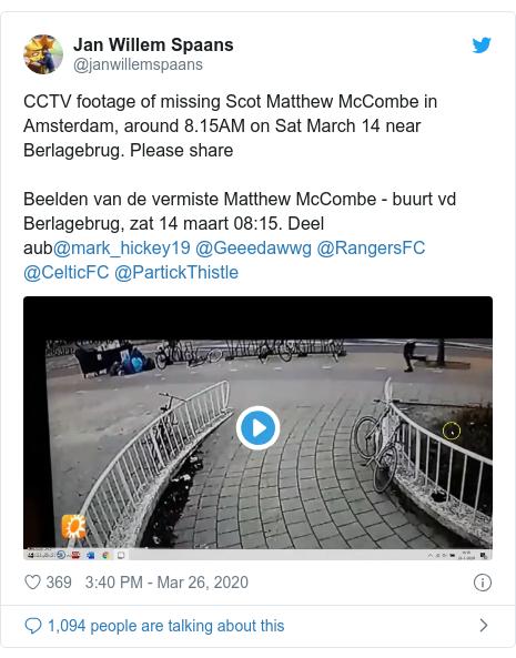 Twitter post by @janwillemspaans: CCTV footage of missing Scot Matthew McCombe in Amsterdam, around 8.15AM on Sat March 14 near Berlagebrug. Please shareBeelden van de vermiste Matthew McCombe - buurt vd Berlagebrug, zat 14 maart 08 15. Deel aub@mark_hickey19 @Geeedawwg @RangersFC @CelticFC @PartickThistle
