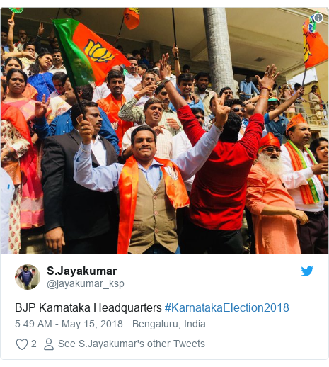 Twitter post by @jayakumar_ksp: BJP Karnataka Headquarters #KarnatakaElection2018