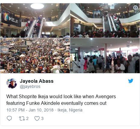 Twitter post by @jayebros: What Shoprite Ikeja would look like when Avengers featuring Funke Akindele eventually comes out