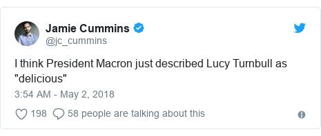 """Twitter post by @jc_cummins: I think President Macron just described Lucy Turnbull as """"delicious"""""""