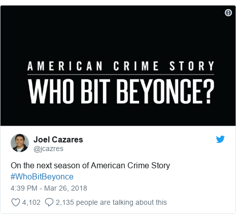 Twitter post by @jcazres: On the next season of American Crime Story #WhoBitBeyonce