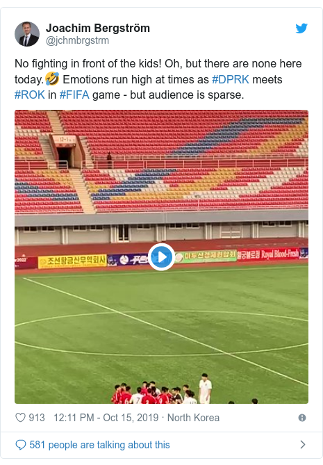 Twitter post by @jchmbrgstrm: No fighting in front of the kids! Oh, but there are none here today.🤣 Emotions run high at times as #DPRK meets #ROK in #FIFA game - but audience is sparse.