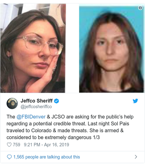 Sol Pais Obsessed With Columbine Found Dead After: Denver Schools Close As FBI Hunt 'Columbine-obsessed