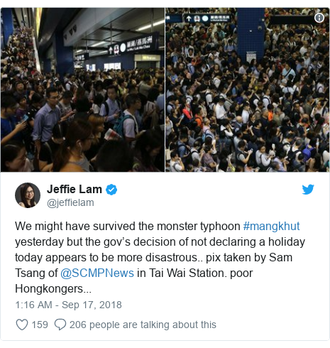 Twitter post by @jeffielam: We might have survived the monster typhoon #mangkhut yesterday but the gov's decision of not declaring a holiday today appears to be more disastrous.. pix taken by Sam Tsang of @SCMPNews in Tai Wai Station. poor Hongkongers...