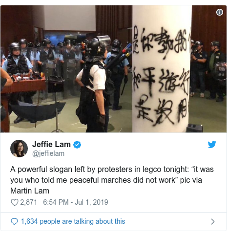 """Twitter post by @jeffielam: A powerful slogan left by protesters in legco tonight  """"it was you who told me peaceful marches did not work"""" pic via Martin Lam"""