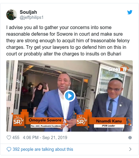 Twitter post by @jeffphilips1: I advise you all to gather your concerns into some reasonable defense for Sowore in court and make sure they are strong enough to acquit him of treasonable felony charges. Try get your lawyers to go defend him on this in court or probably alter the charges to insults on Buhari