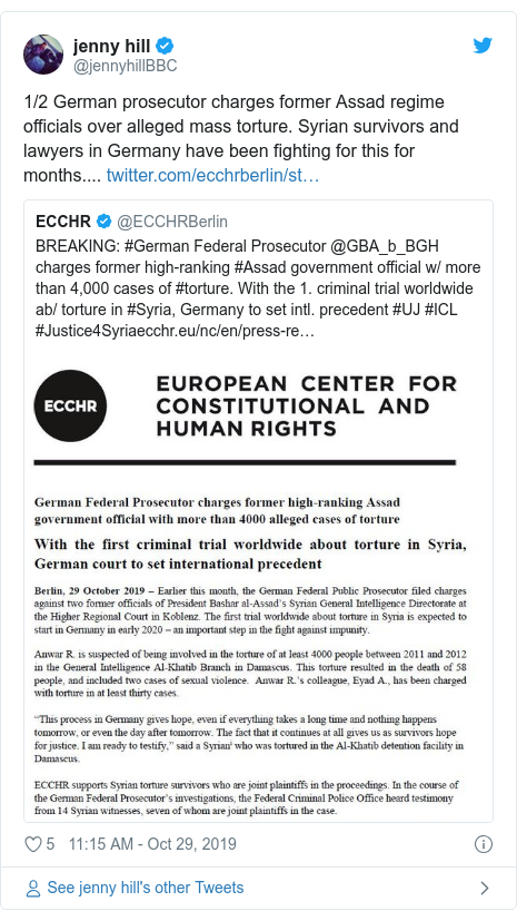 Twitter post by @jennyhillBBC: 1/2 German prosecutor charges former Assad regime officials over alleged mass torture. Syrian survivors and lawyers in Germany have been fighting for this for months....