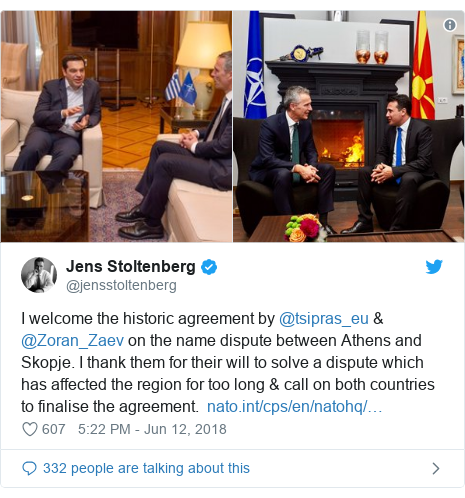 Twitter post by @jensstoltenberg: I welcome the historic agreement by @tsipras_eu & @Zoran_Zaev on the name dispute between Athens and Skopje. I thank them for their will to solve a dispute which has affected the region for too long & call on both countries to finalise the agreement.