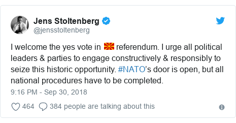 Twitter post by @jensstoltenberg: I welcome the yes vote in 🇲🇰 referendum. I urge all political leaders & parties to engage constructively & responsibly to seize this historic opportunity. #NATO's door is open, but all national procedures have to be completed.