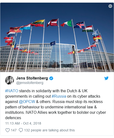 Twitter post by @jensstoltenberg: #NATO stands in solidarity with the Dutch & UK governments in calling out #Russia on its cyber attacks against @OPCW & others. Russia must stop its reckless pattern of behaviour to undermine international law & institutions. NATO Allies work together to bolster our cyber defences