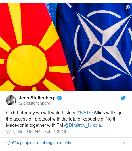 Twitter post by @jensstoltenberg: On 6 February we will write history  #NATO Allies will sign the accession protocol with the future Republic of North Macedonia together with FM @Dimitrov_Nikola.