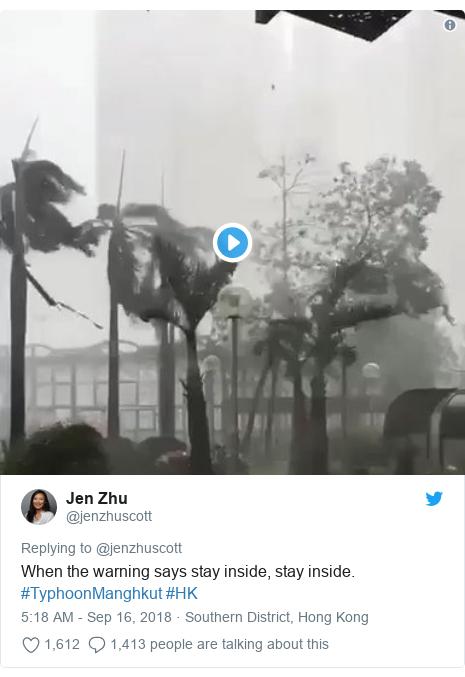 Twitter post by @jenzhuscott: When the warning says stay inside, stay inside. #TyphoonManghkut #HK