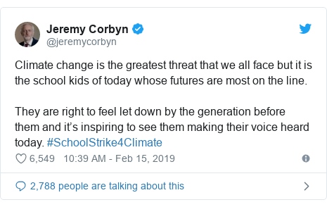 Twitter post by @jeremycorbyn: Climate change is the greatest threat that we all face but it is the school kids of today whose futures are most on the line.They are right to feel let down by the generation before them and it's inspiring to see them making their voice heard today. #SchoolStrike4Climate