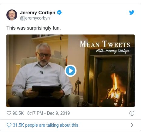 Twitter post by @jeremycorbyn: This was surprisingly fun.