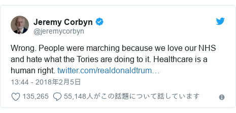 Twitter post by @jeremycorbyn: Wrong. People were marching because we love our NHS and hate what the Tories are doing to it. Healthcare is a human right.