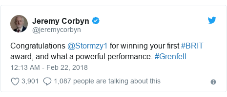 Twitter post by @jeremycorbyn: Congratulations @Stormzy1 for winning your first #BRIT award, and what a powerful performance. #Grenfell