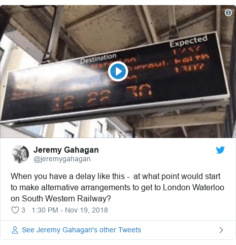 Twitter post by @jeremygahagan: When you have a delay like this -  at what point would start to make alternative arrangements to get to London Waterloo on South Western Railway?