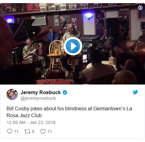 Twitter post by @jeremyrroebuck: Bill Cosby jokes about his blindness at Germantown's La Rosa Jazz Club