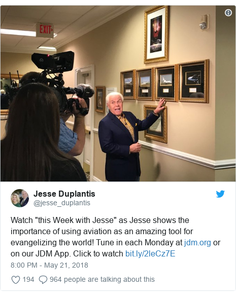 """Twitter wallafa daga @jesse_duplantis: Watch """"this Week with Jesse"""" as Jesse shows the importance of using aviation as an amazing tool for evangelizing the world! Tune in each Monday at  or on our JDM App. Click to watch"""