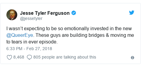 Twitter post by @jessetyler: I wasn't expecting to be so emotionally invested in the new @QueerEye. These guys are building bridges & moving me to tears in ever episode.