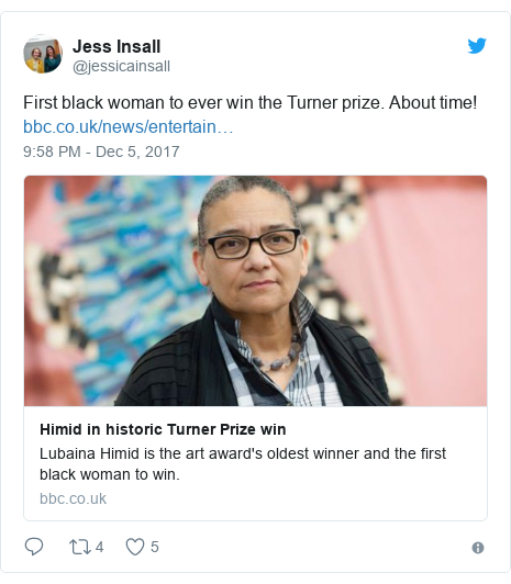 Twitter post by @jessicainsall: First black woman to ever win the Turner prize. About time!