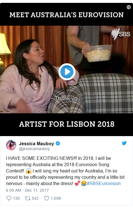 Twitter post by @jessicamauboy: I HAVE SOME EXCITING NEWS!!! In 2018, I will be representing Australia at the 2018 Eurovision Song Contest!! 😱 I will sing my heart out for Australia, I'm so proud to be officially representing my country and a little bit nervous - mainly about the dress! 💕😂#SBSEurovision