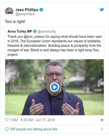 Twitter post by @jessphillips: Tom is right!