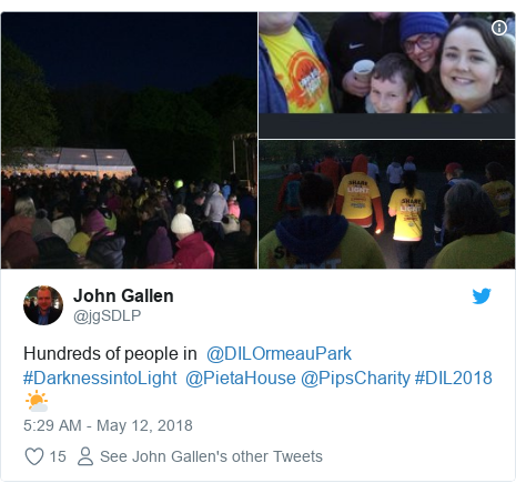 Twitter post by @jgSDLP: Hundreds of people in  @DILOrmeauPark #DarknessintoLight  @PietaHouse @PipsCharity #DIL2018 🌤