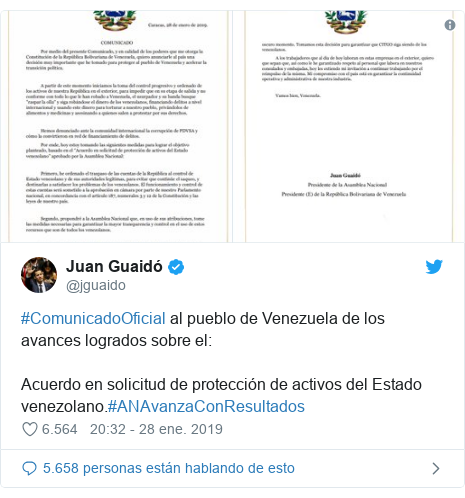 Publicación de Twitter por @jguaido: #ComunicadoOficial al pueblo de Venezuela de los avances logrados sobre el  Acuerdo en solicitud de protección de activos del Estado venezolano.#ANAvanzaConResultados
