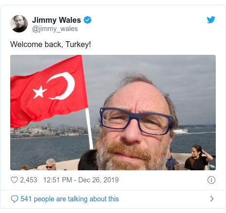 Twitter post by @jimmy_wales: Welcome back, Turkey!