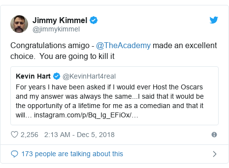 Twitter post by @jimmykimmel: Congratulations amigo - @TheAcademy made an excellent choice.  You are going to kill it
