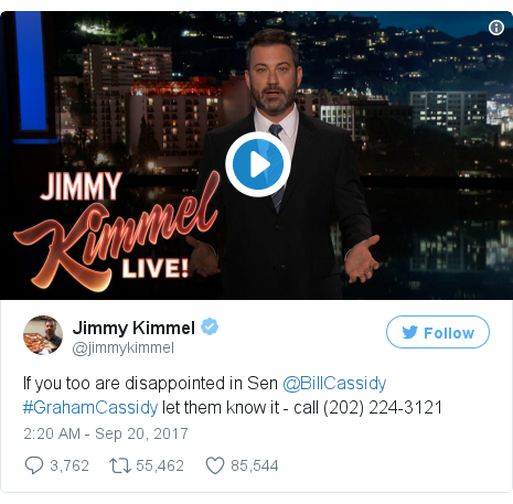Twitter post by @jimmykimmel: If you too are disappointed in Sen @BillCassidy #GrahamCassidy let them know it - call (202) 224-3121 pic.twitter.com/eswlh6BaoV