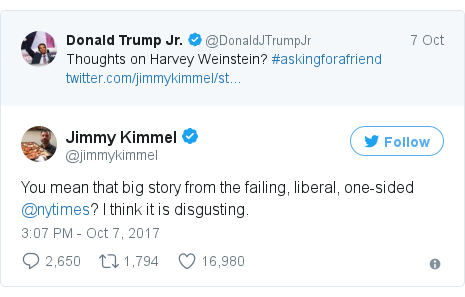 Twitter post by @jimmykimmel: You mean that big story from the failing, liberal, one-sided @nytimes?  I think it is disgusting.