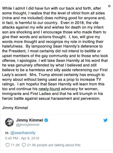Twitter post by @jimmykimmel: re. @seanhannity