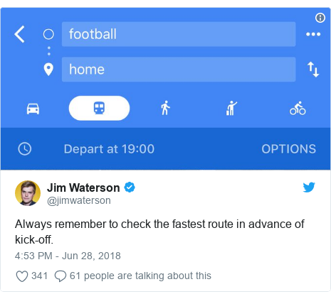 Twitter post by @jimwaterson: Always remember to check the fastest route in advance of kick-off.