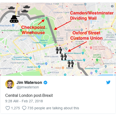 Twitter post by @jimwaterson: Central London post-Brexit