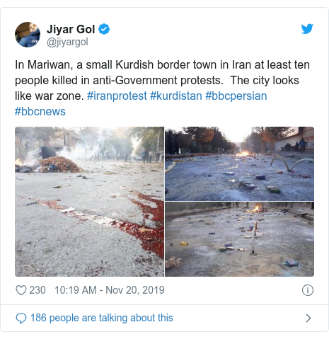 Twitter post by @jiyargol: In Mariwan, a small Kurdish border town in Iran at least ten people killed in anti-Government protests.  The city looks like war zone. #iranprotest #kurdistan #bbcpersian #bbcnews
