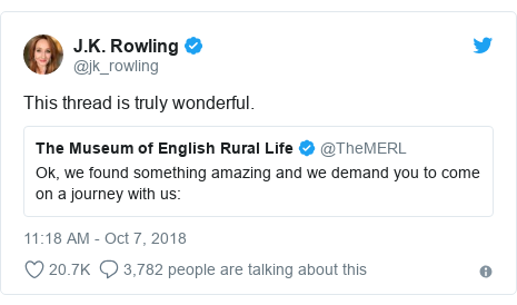 Twitter post by @jk_rowling: This thread is truly wonderful.